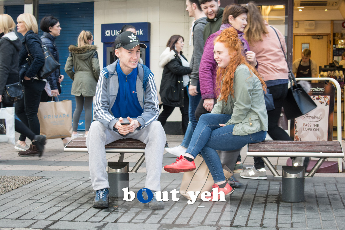 Young couple, Cornmarket, Belfast. Photo 2714.