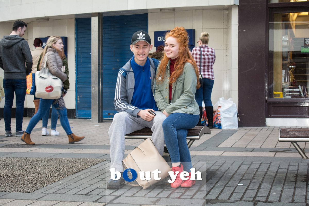 Young couple in Cornmarket, Belfast. Photo 2718, full frame.