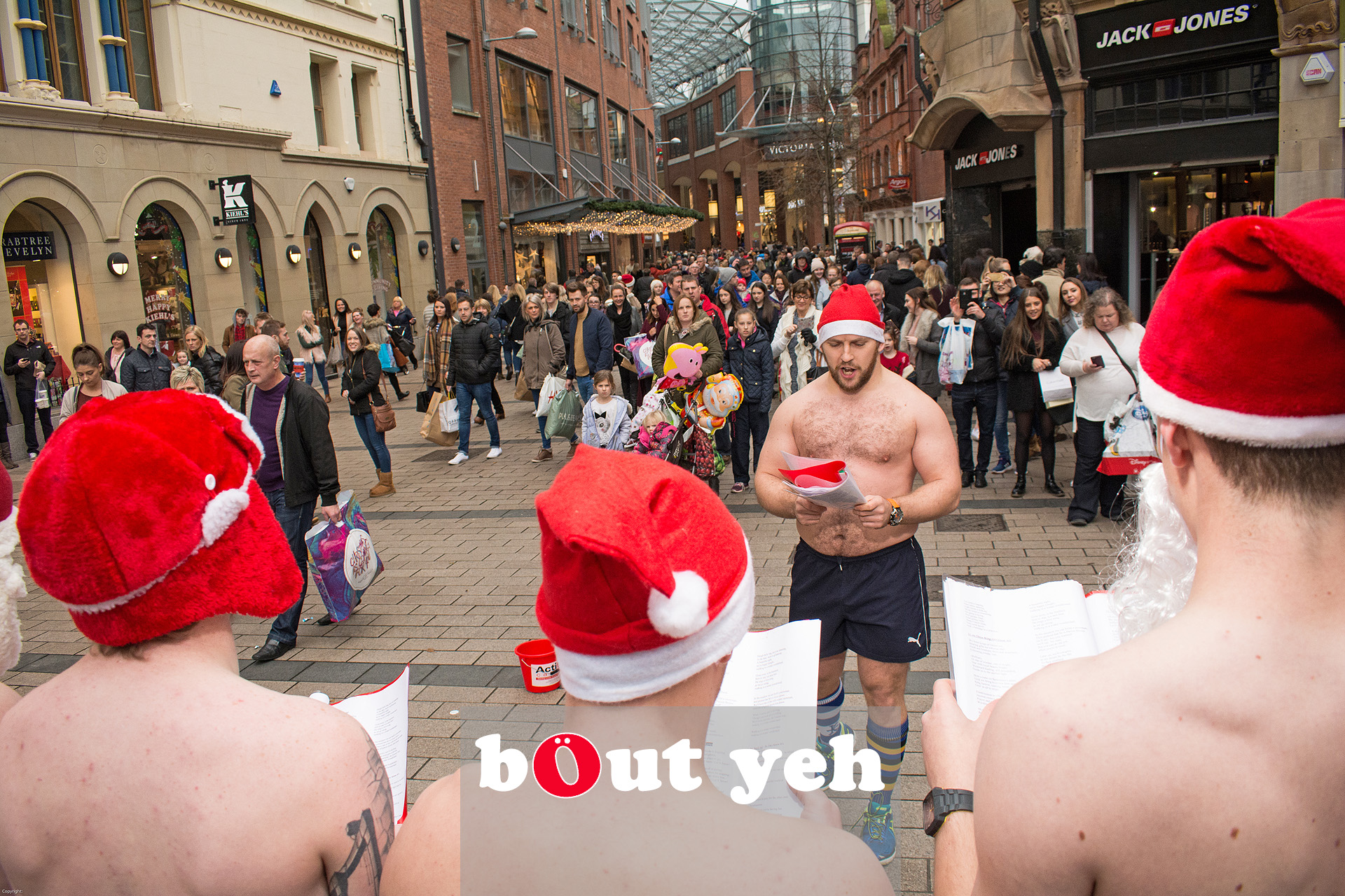 Bangor Rugby Club members singing Christmas Carols for charity in Belfast. Photo 3194.