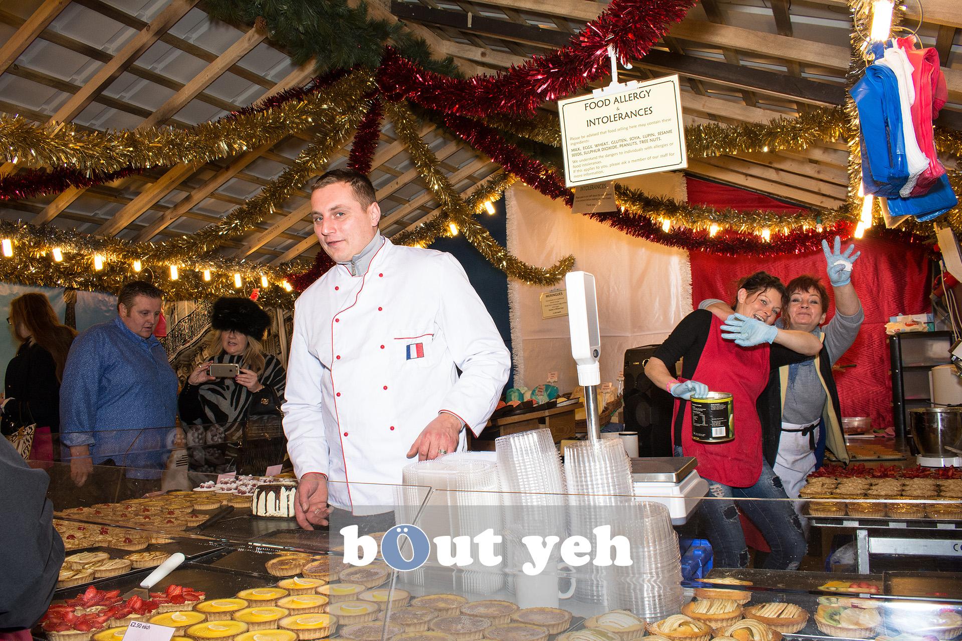 Workers at Belfast Christmas Market enjoying their work. Photo 3286.