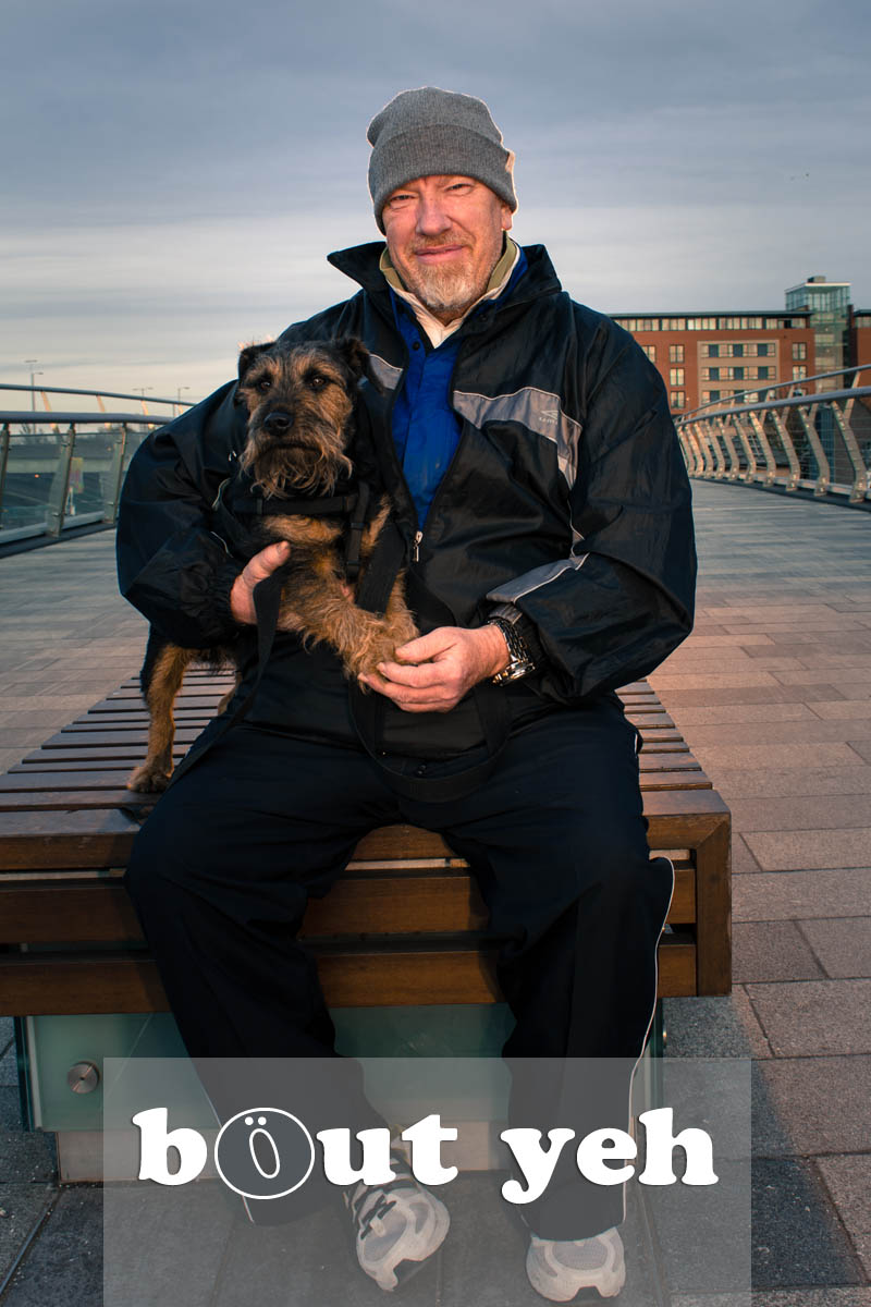 Alan and dog Jedediah, Lagan Weir Bridge, Belfast - photo 5099. Excluding call to action.