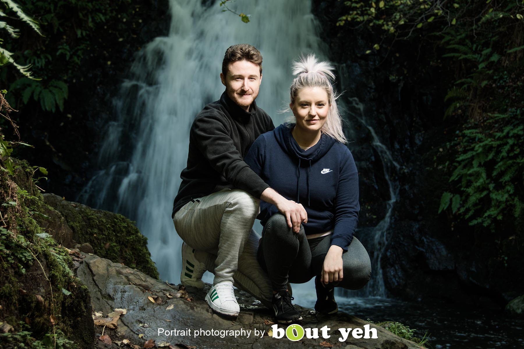 David and Joanna, at Gleno Waterfall, Northern Ireland - photo 9004.