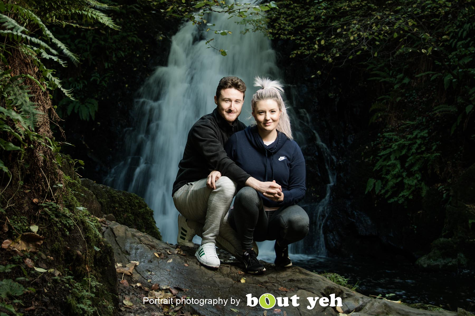 David and Joanna, at Gleno Waterfall, Northern Ireland - photo 9006.