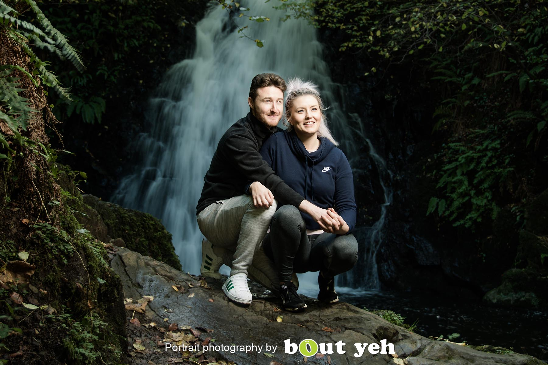 David and Joanna, at Gleno Waterfall, Northern Ireland - photo 9011.