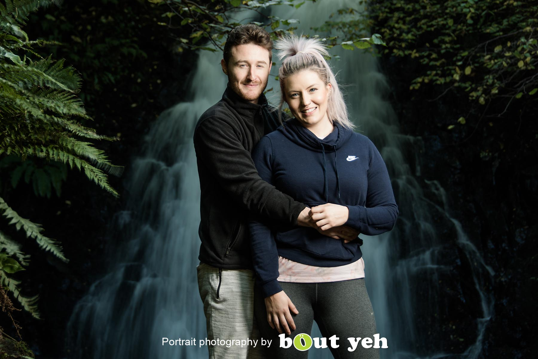 David and Joanna, at Gleno Waterfall, Northern Ireland - photo 9013.