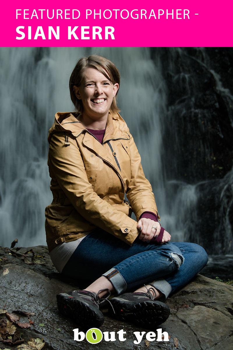 Featured photographer, Sian, at Gleno waterfall, Northern Ireland.