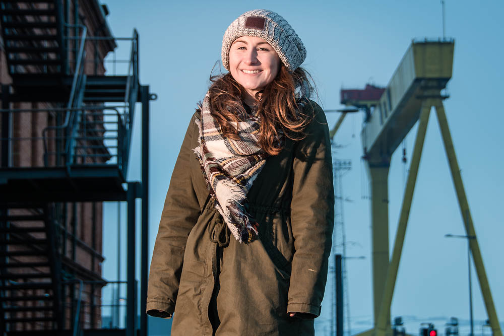 Amy at Titanic Belfast, Northern Ireland. Photo 0808. Featured image.