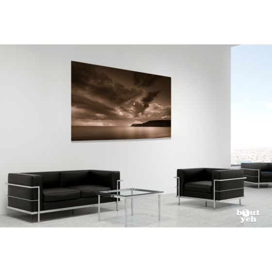 Carnlough Bay Irish landscape photograph in room setting, by Stephen S T Bradley, image 2536