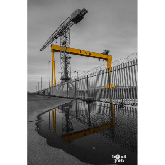 Harland and Wolff Shipyard by JMcL (H&W B&W) - photographic print for sale.