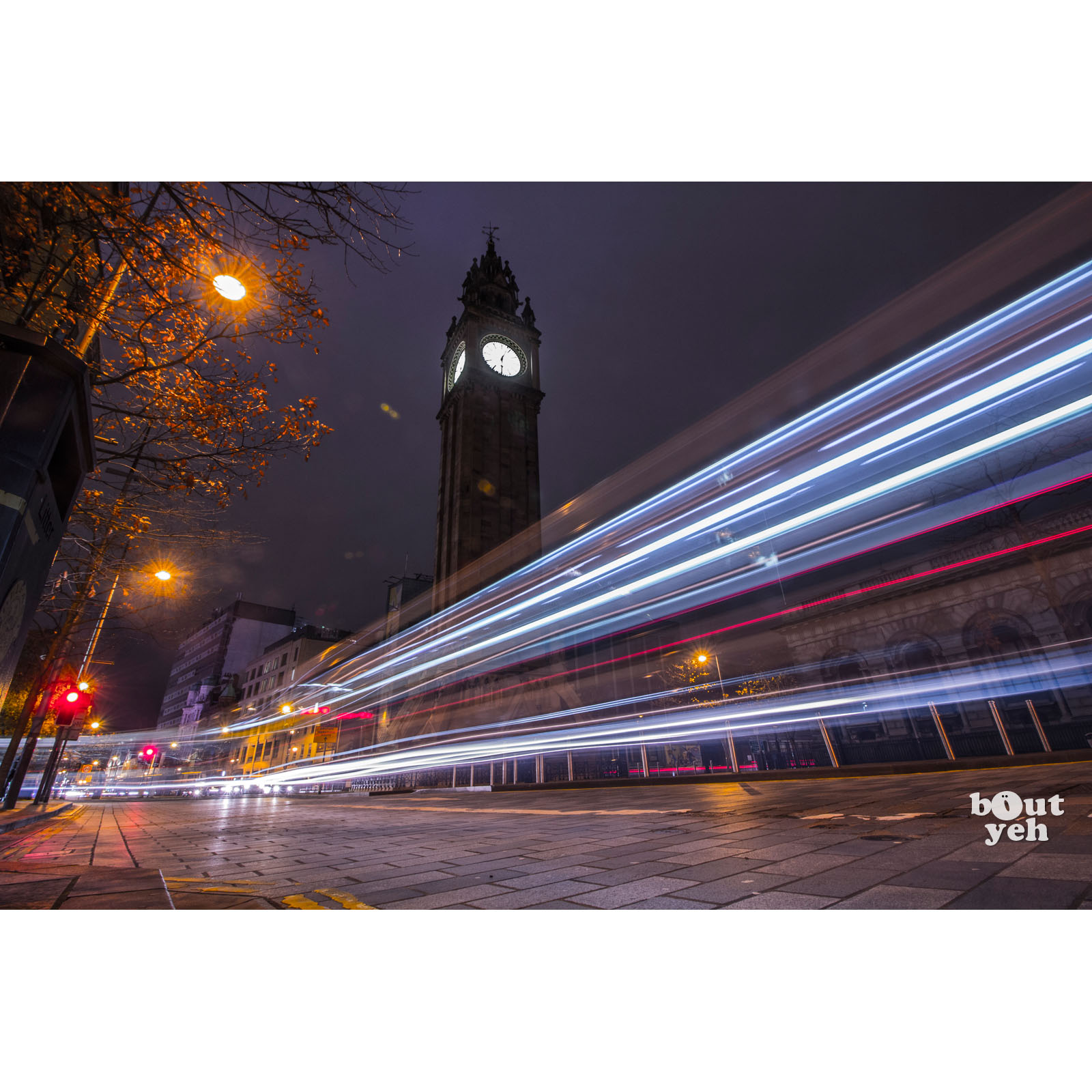 Image - Featured photographer, Justin McLean, photograph of light trails, Albert Clock, Belfast, Northern Ireland.