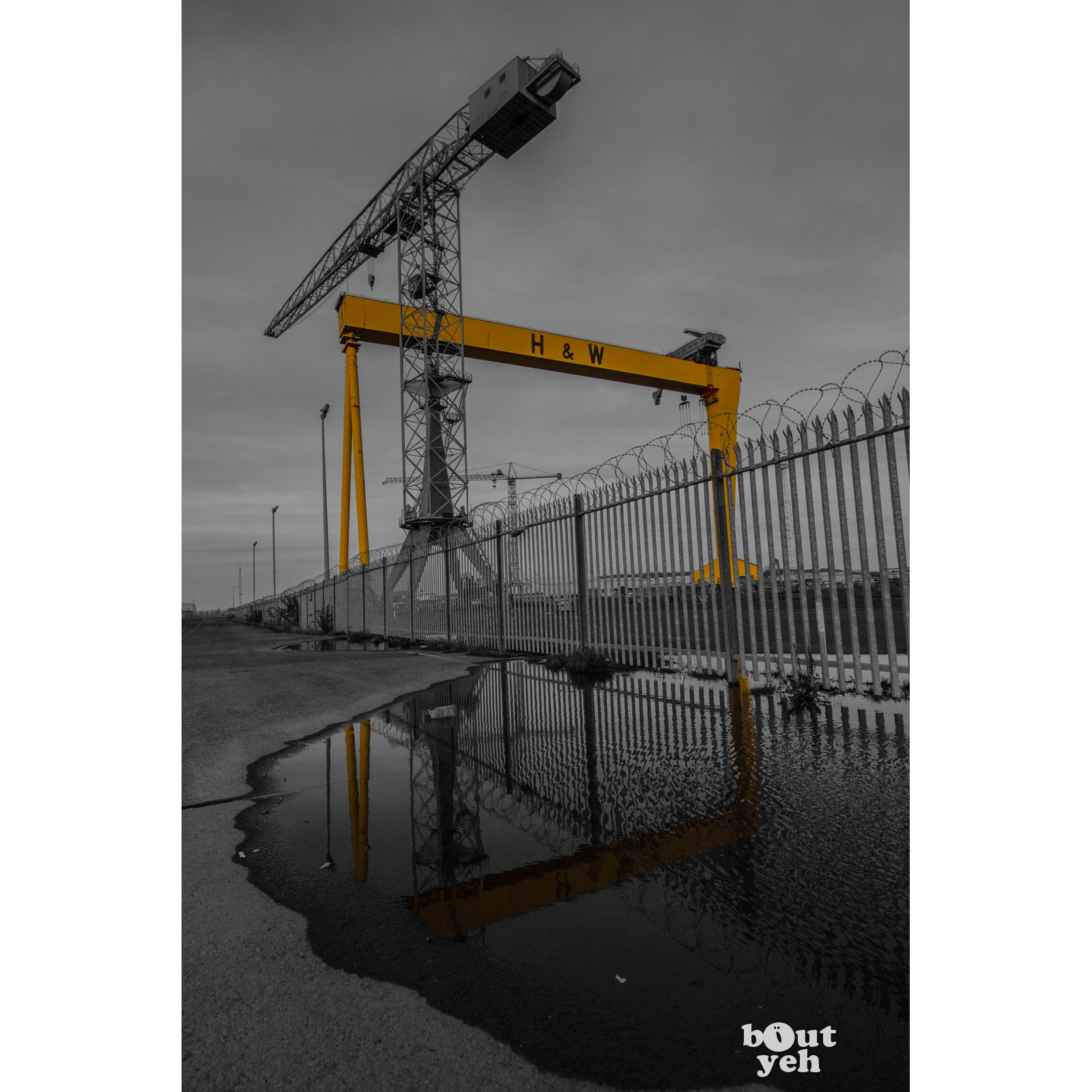 Image - Featured photographer, Justin McLean, black and white photograph of Harland and Wolff shipyard, Belfast, Northern Ireland.