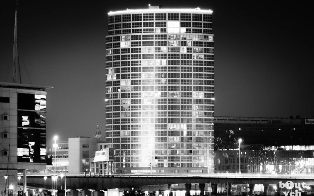 Obel Tower Belfast in black and white