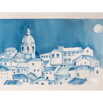 Italian landscape painting, Milan Blue, by Irish artist Margaret Brand.