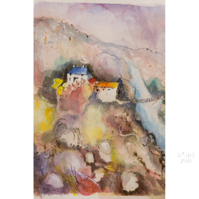 Irish landscape painting, Mountain Stream, by Irish artist Margaret Brand.