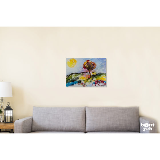 Irish landscape painting, Starry Night. Painting shown in room setting.