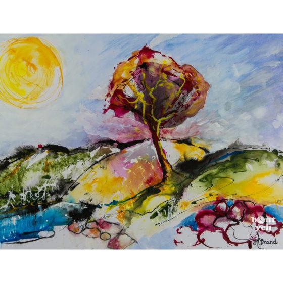 Irish landscape painting, Flame tree in the bog, by Irish artist Margaret Brand.