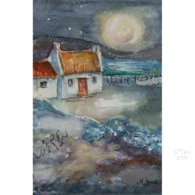 Irish landscape painting, Starry Night, by Irish artist Margaret Brand.