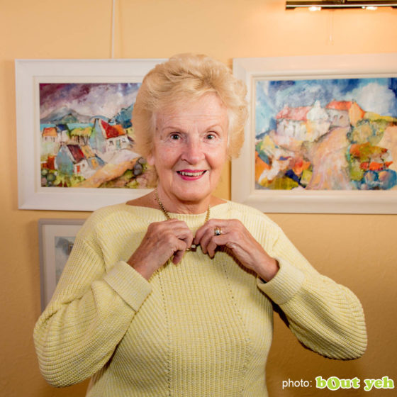 Artist Margaret Brand, square photo 5643 by Bout Yeh photographers Belfast, Northern Ireland